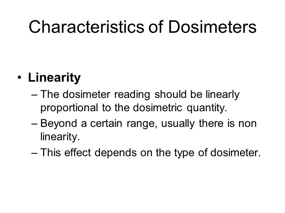 Characteristics of Dosimeters