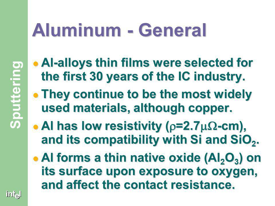 Aluminum - General Al-alloys thin films were selected for the first 30 years of the IC industry.