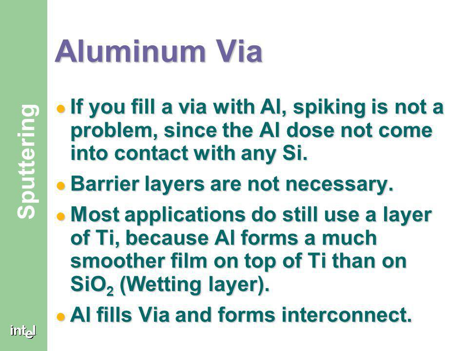 Aluminum Via If you fill a via with Al, spiking is not a problem, since the Al dose not come into contact with any Si.
