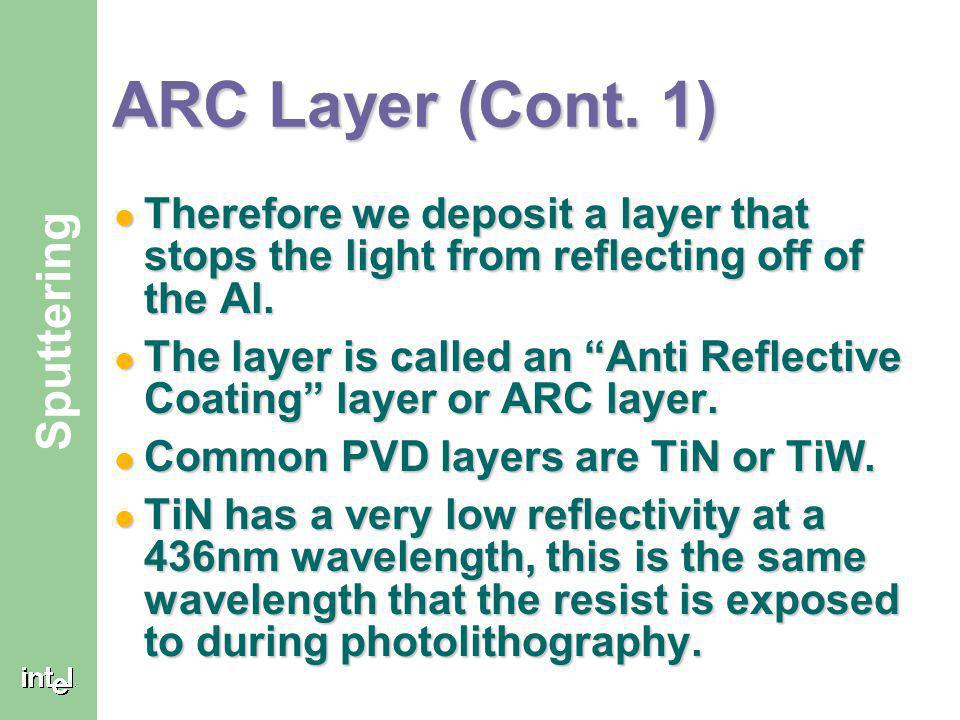 ARC Layer (Cont. 1) Therefore we deposit a layer that stops the light from reflecting off of the Al.