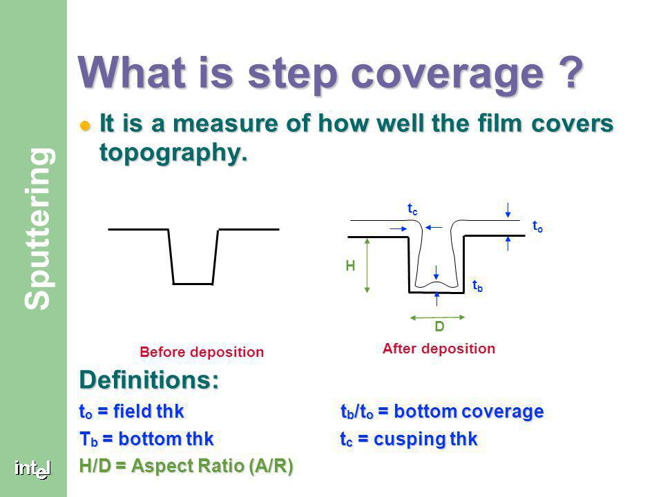 What is step coverage It is a measure of how well the film covers topography. Definitions: