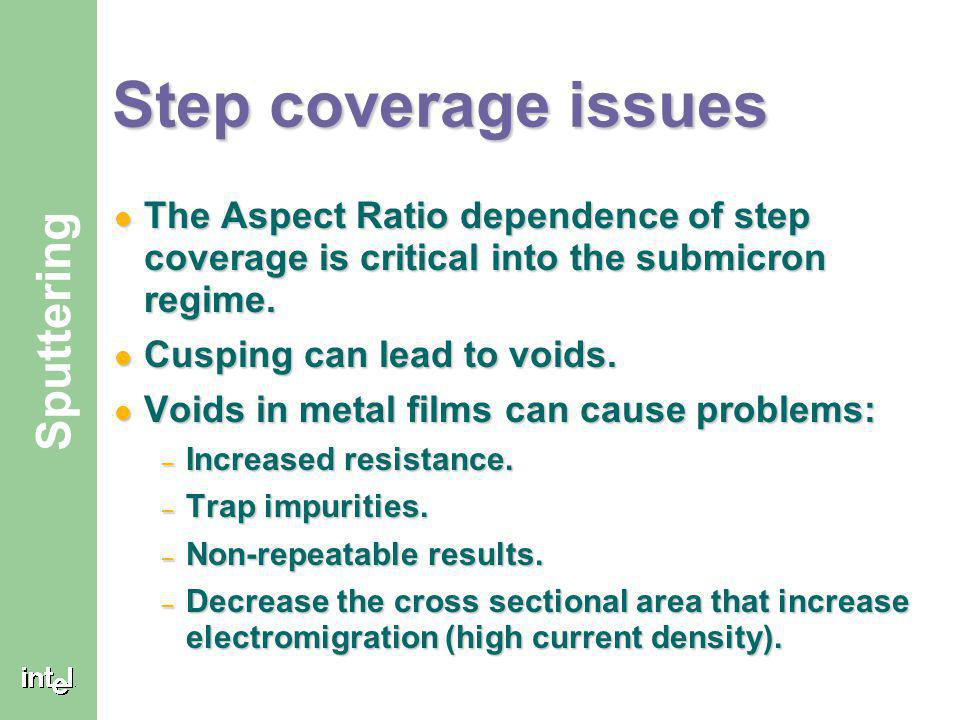 Step coverage issues The Aspect Ratio dependence of step coverage is critical into the submicron regime.