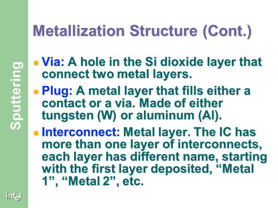 Metallization Structure (Cont.)
