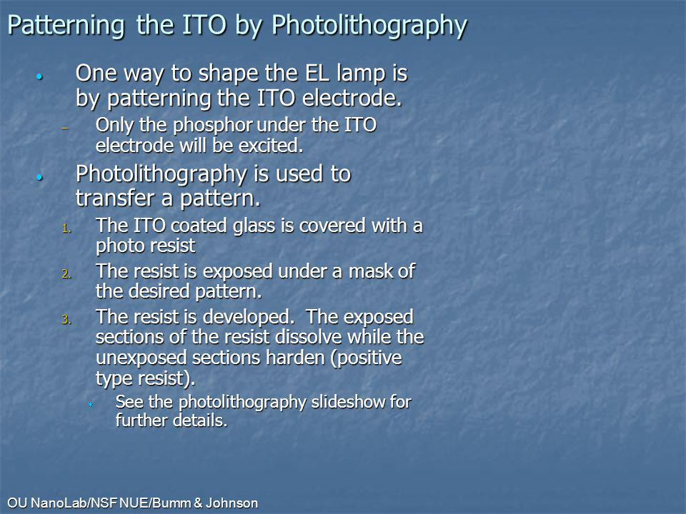 Patterning the ITO by Photolithography