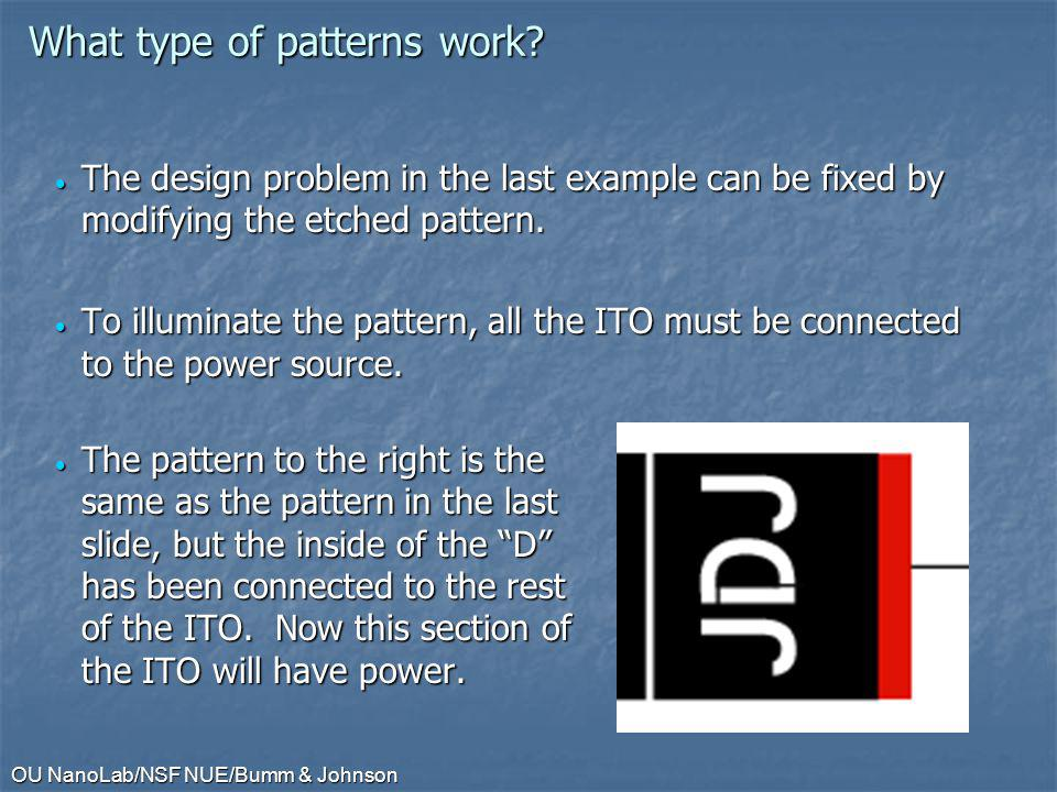 What type of patterns work