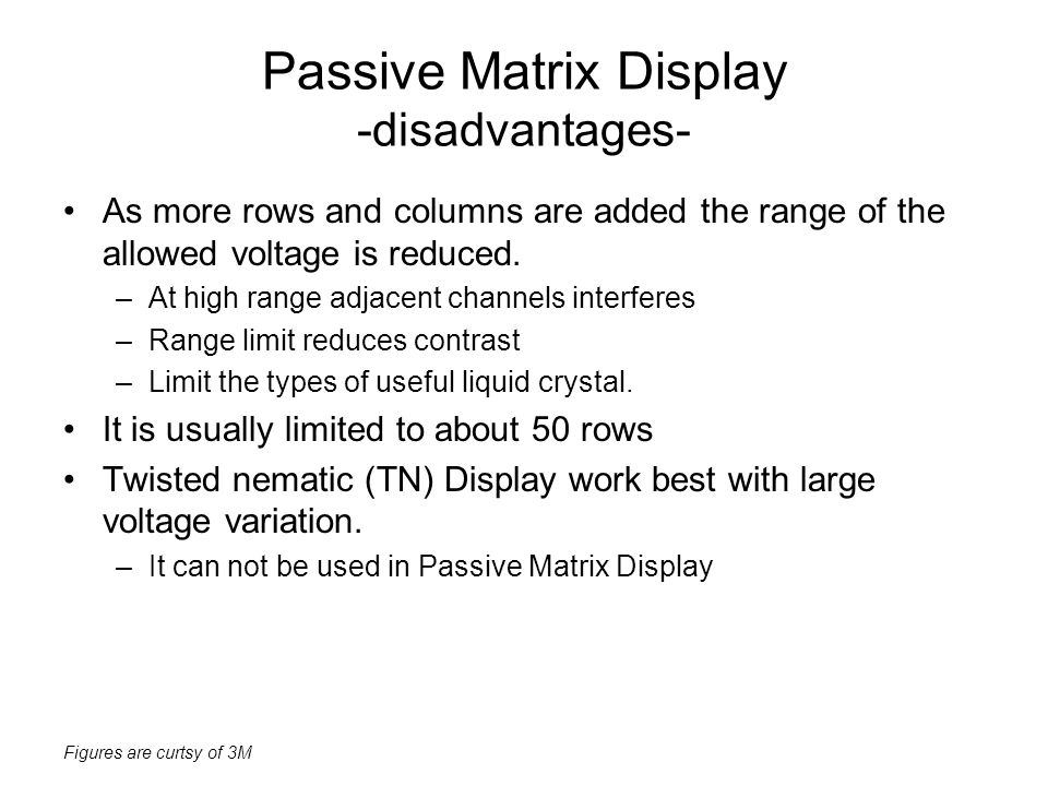 Passive Matrix Display -disadvantages-