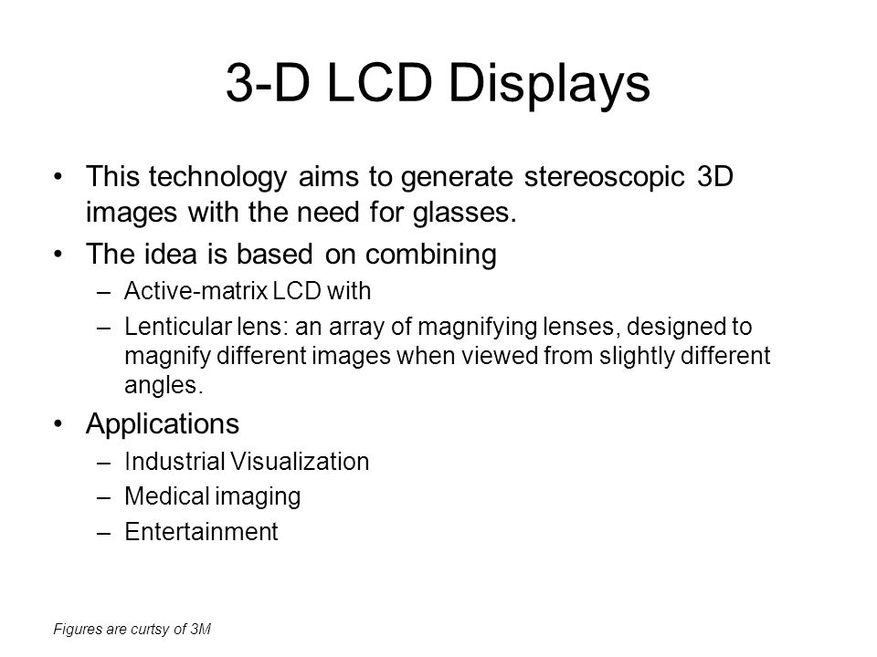 3-D LCD Displays This technology aims to generate stereoscopic 3D images with the need for glasses.