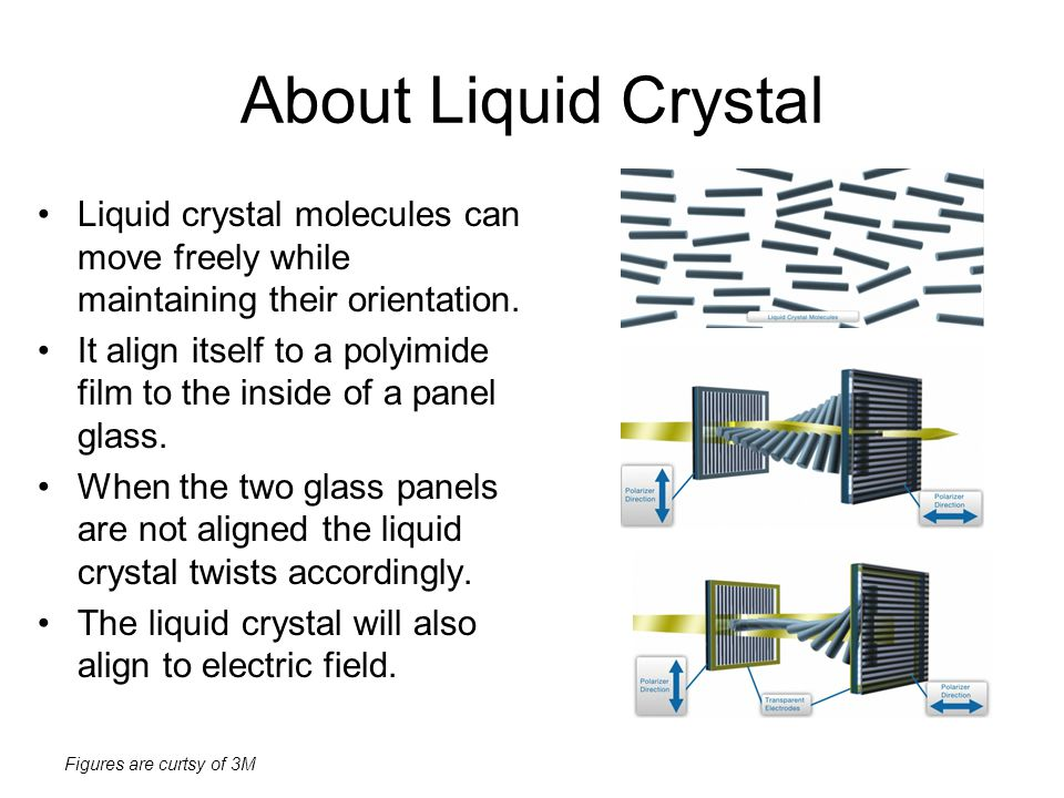 About Liquid Crystal Liquid crystal molecules can move freely while maintaining their orientation.