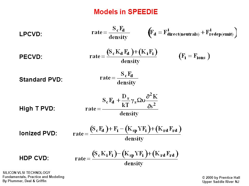 Models in SPEEDIE LPCVD: PECVD: Standard PVD: High T PVD: Ionized PVD: