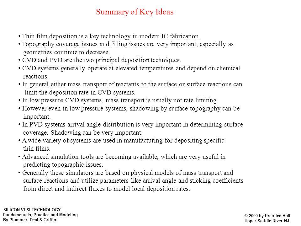 Summary of Key Ideas • Thin film deposition is a key technology in modern IC fabrication.