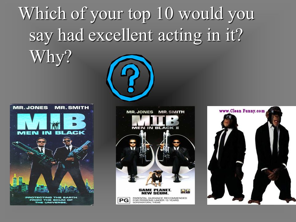 Which of your top 10 would you say had excellent acting in it Why