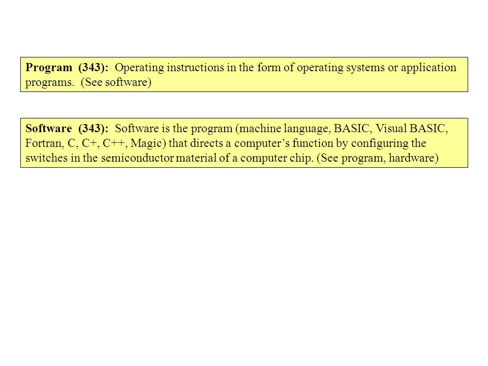Program (343): Operating instructions in the form of operating systems or application programs. (See software)