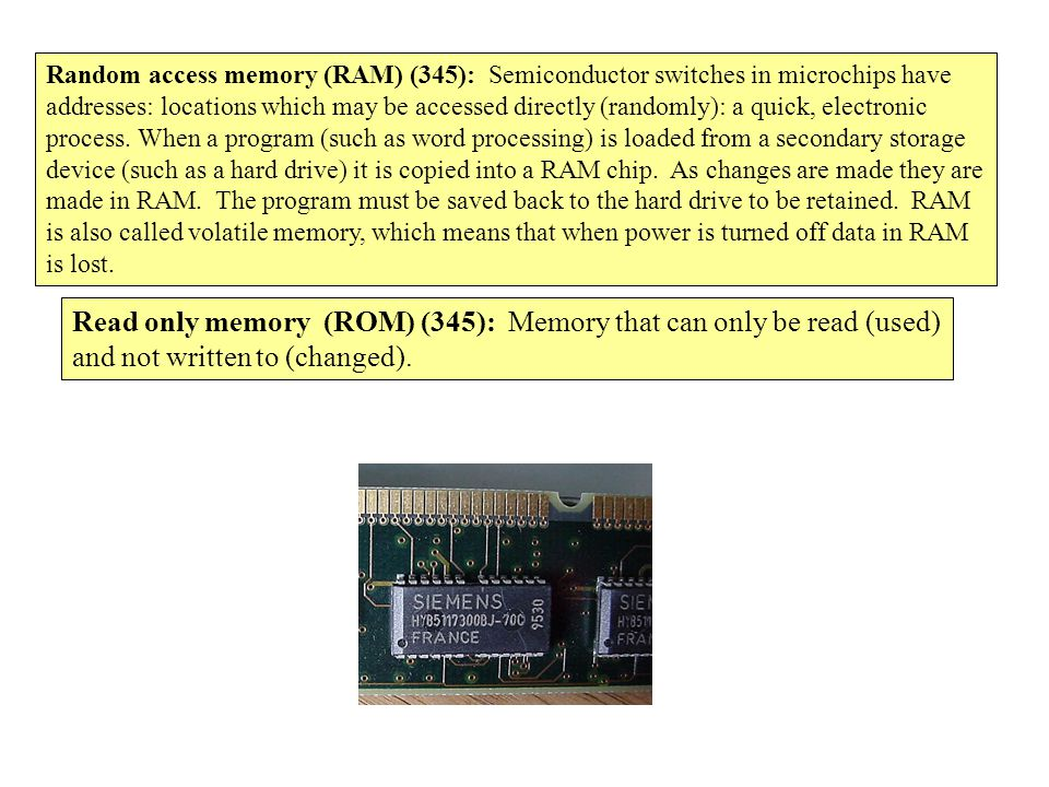 Read only memory (ROM) (345): Memory that can only be read (used)