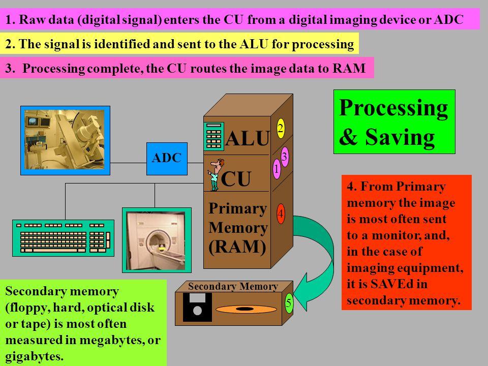 Processing & Saving ALU CU (RAM) Primary Memory