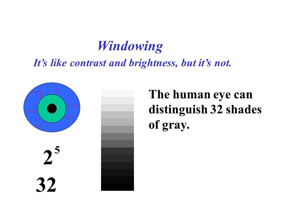 2 32 Windowing The human eye can distinguish 32 shades of gray.