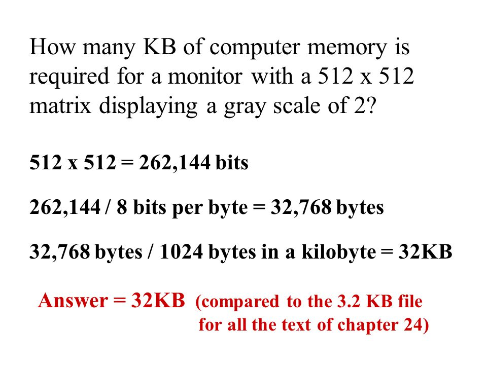 How many KB of computer memory is required for a monitor with a 512 x 512 matrix displaying a gray scale of 2
