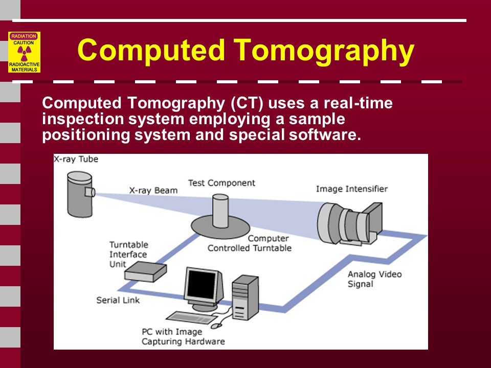 Computed Tomography Computed Tomography (CT) uses a real-time inspection system employing a sample positioning system and special software.