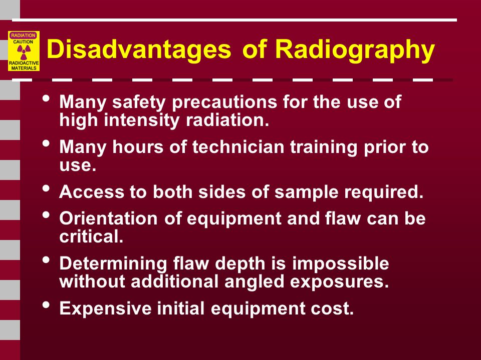 Disadvantages of Radiography