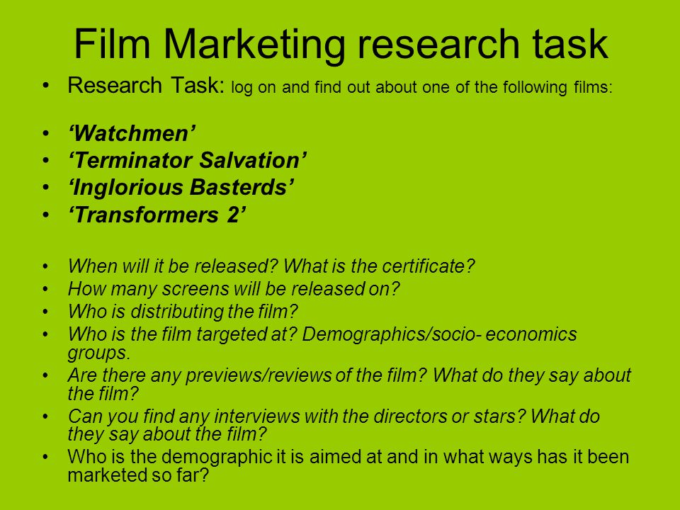 Film Marketing research task