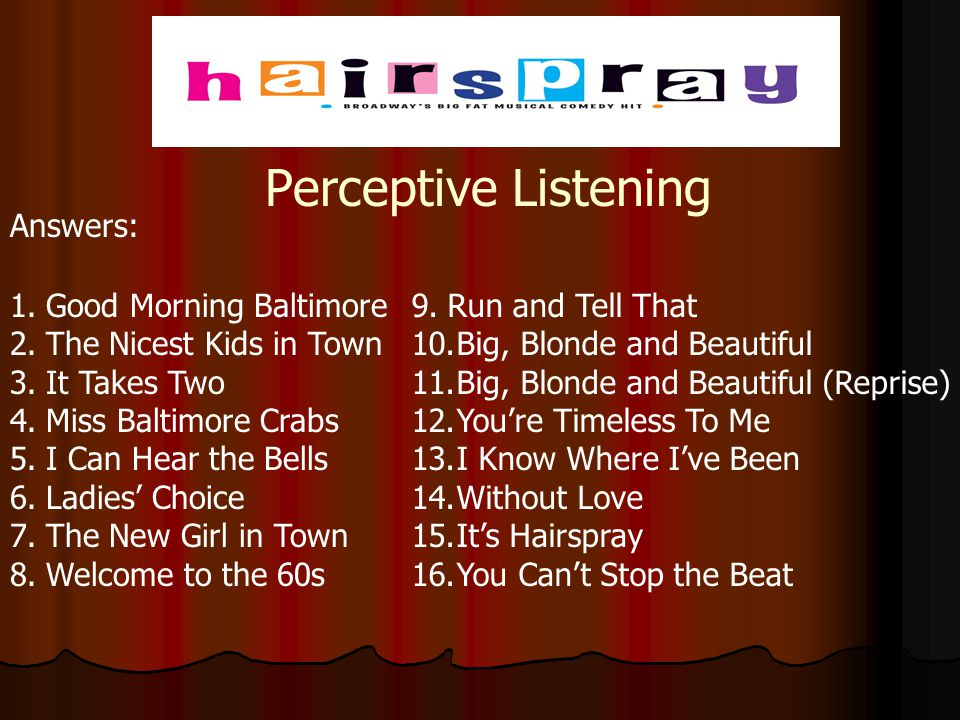 Perceptive Listening Answers: Good Morning Baltimore