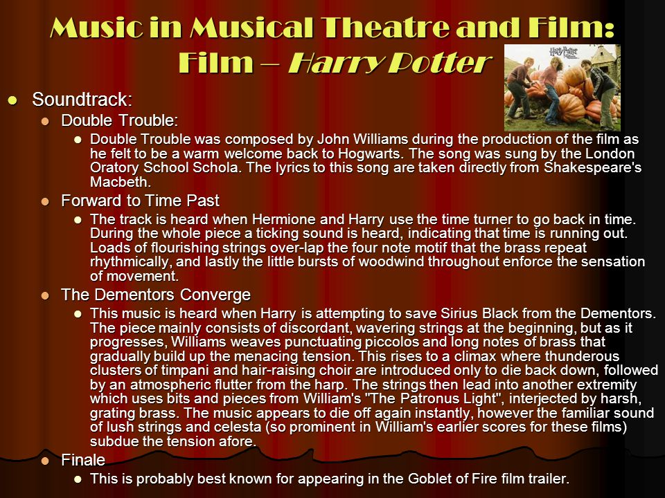 Music in Musical Theatre and Film: Film – Harry Potter