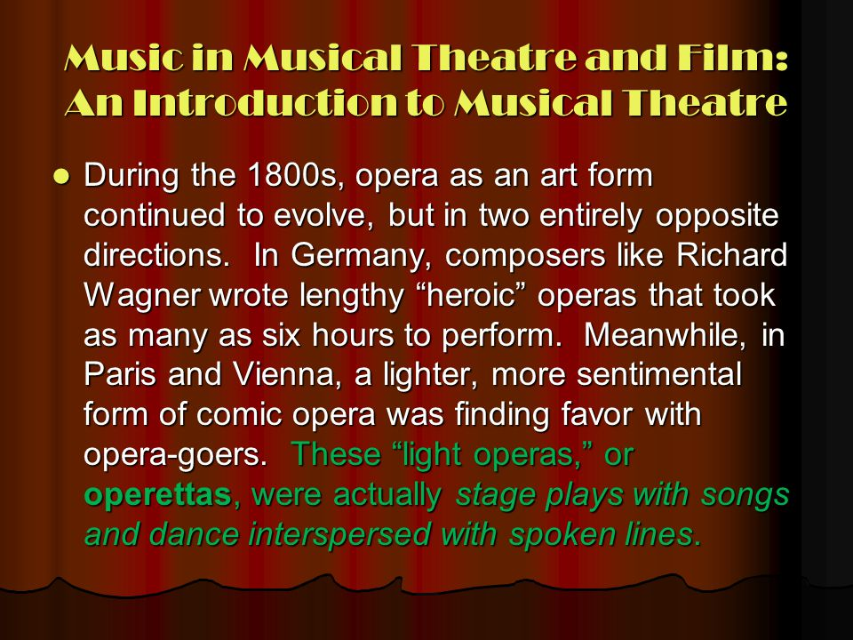 Music in Musical Theatre and Film: An Introduction to Musical Theatre
