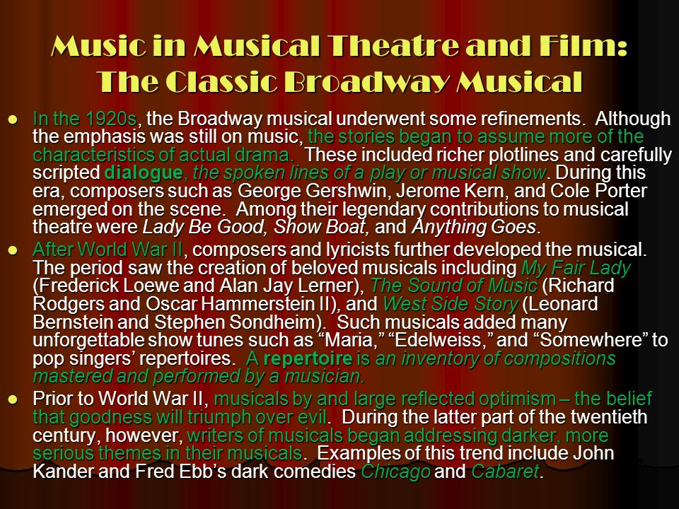 Music in Musical Theatre and Film: The Classic Broadway Musical