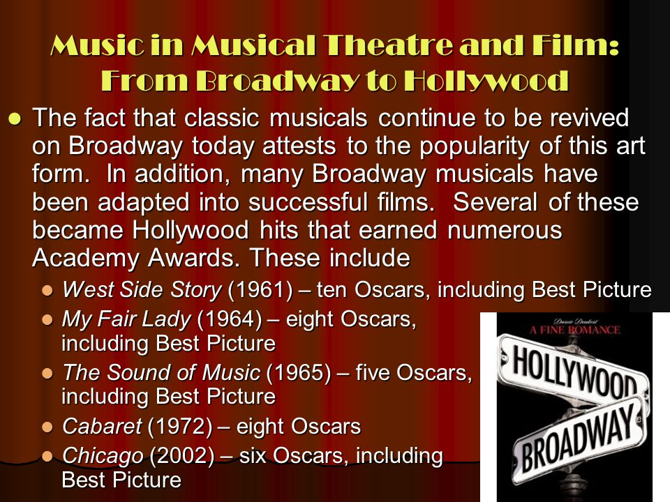 Music in Musical Theatre and Film: From Broadway to Hollywood