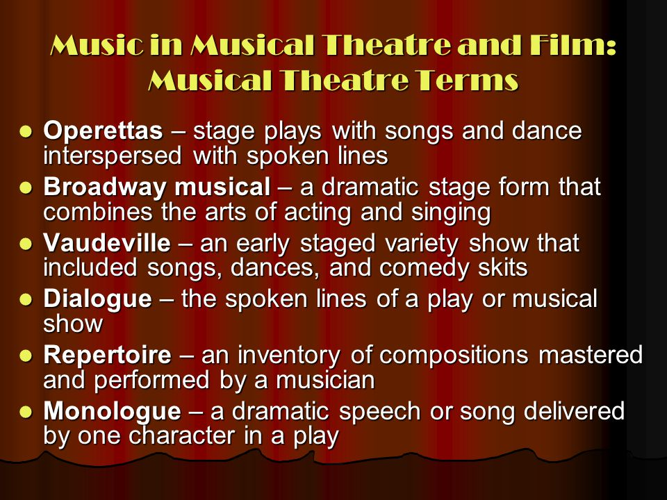 Music in Musical Theatre and Film: Musical Theatre Terms