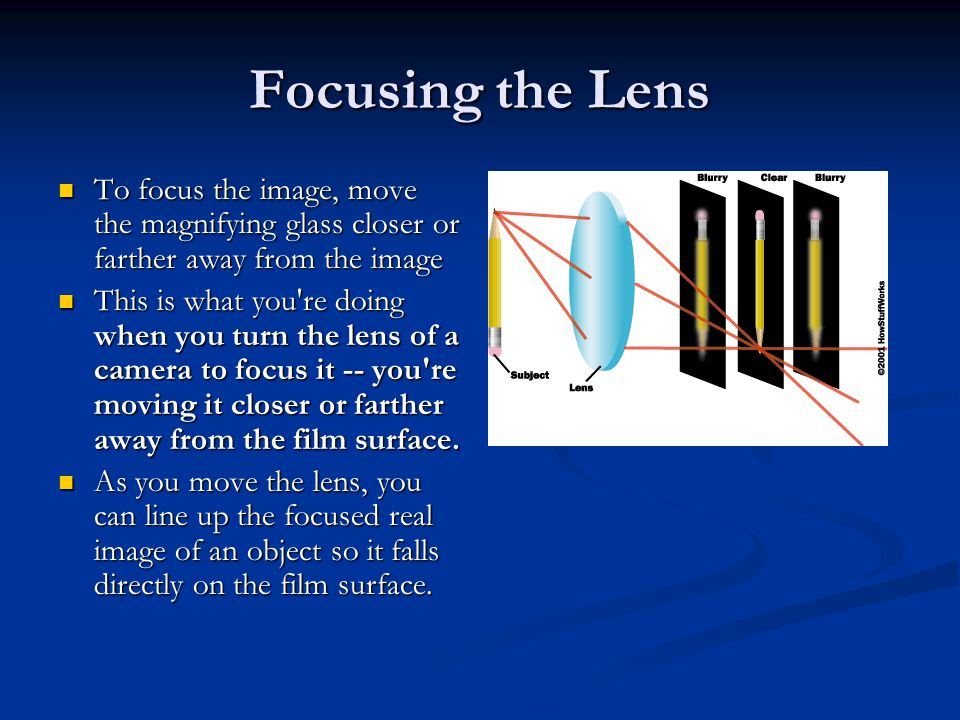 Focusing the Lens To focus the image, move the magnifying glass closer or farther away from the image.