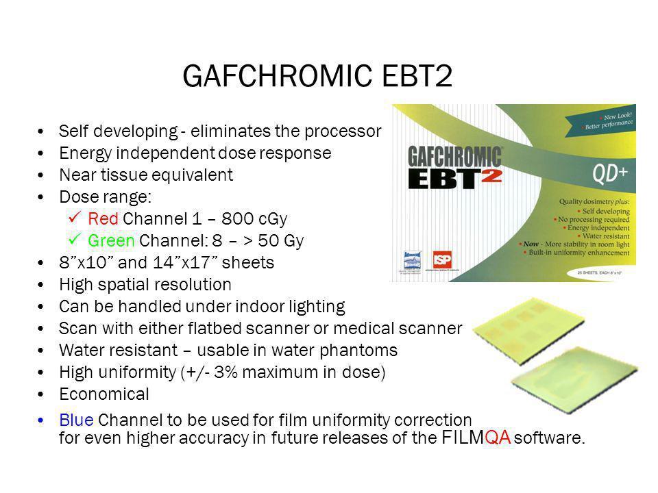 GAFCHROMIC EBT2 Self developing - eliminates the processor