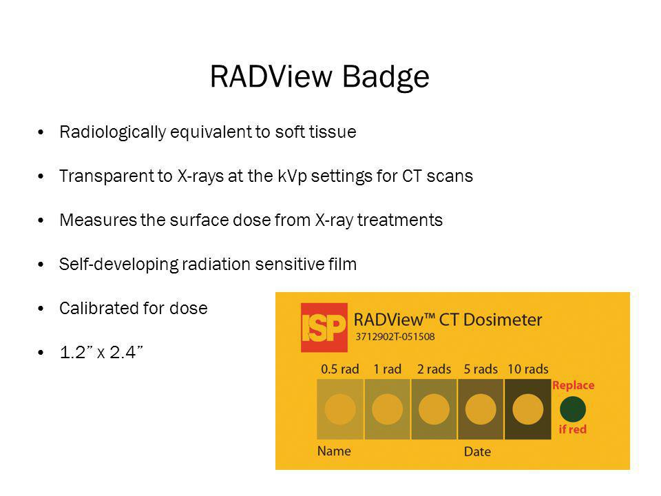 RADView Badge Radiologically equivalent to soft tissue