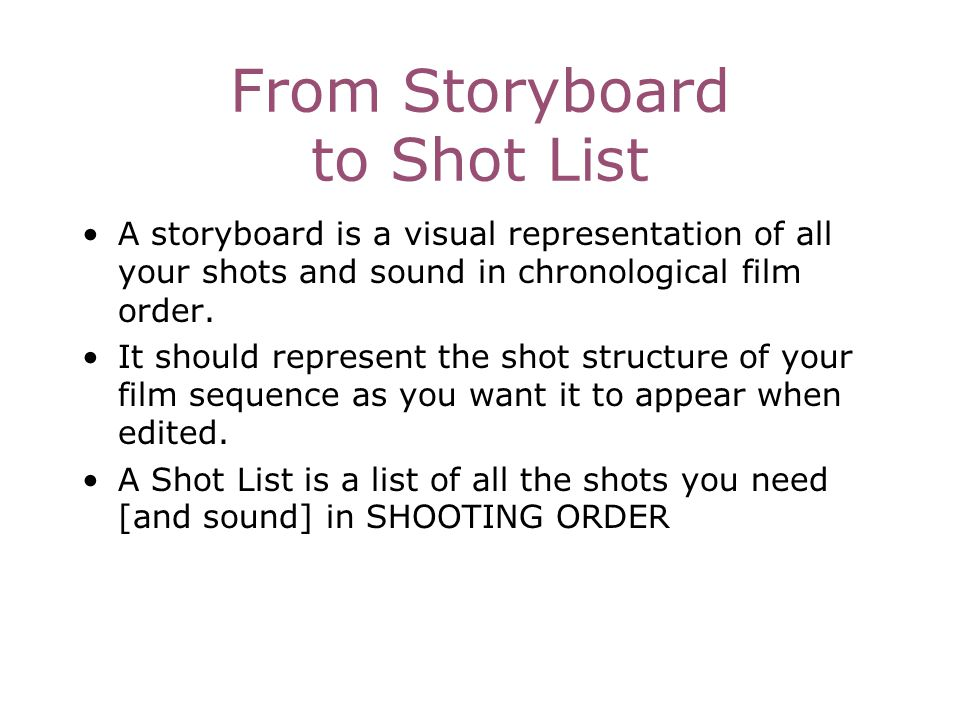From Storyboard to Shot List