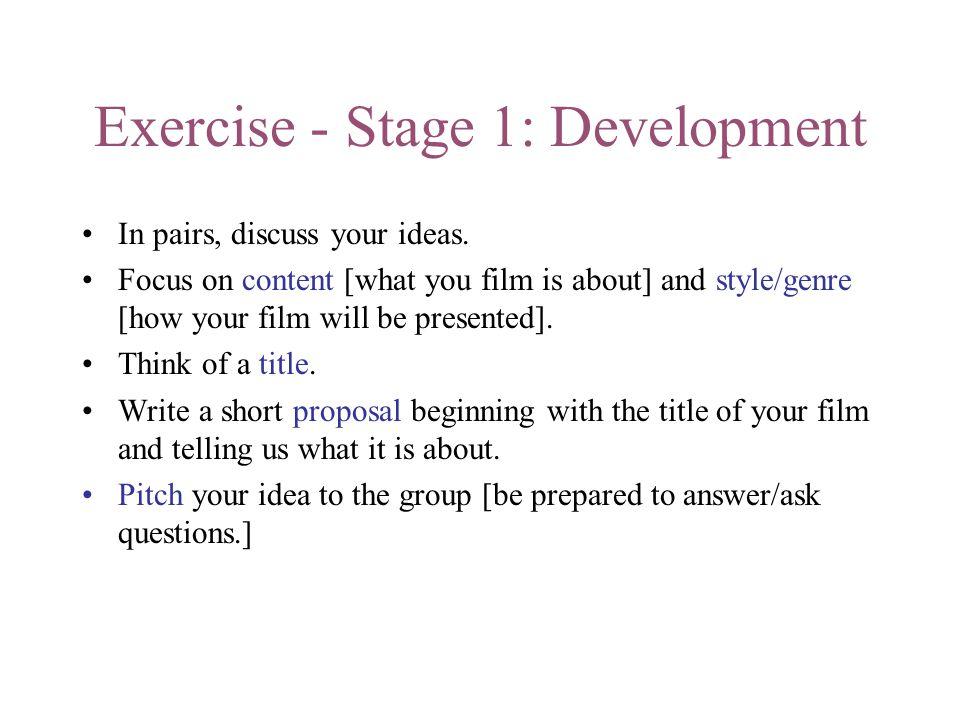 Exercise - Stage 1: Development