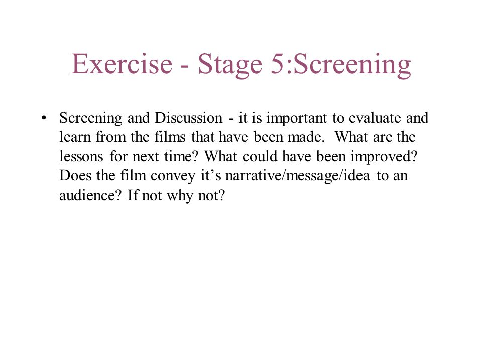 Exercise - Stage 5:Screening
