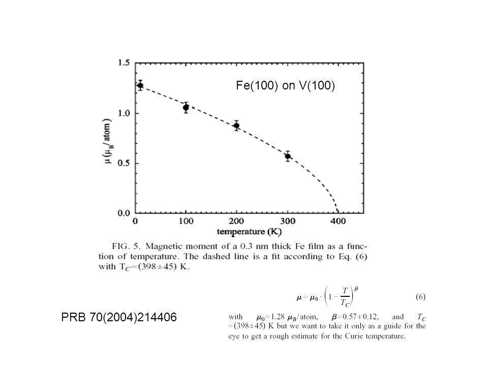 Fe(100) on V(100) PRB 70(2004)214406