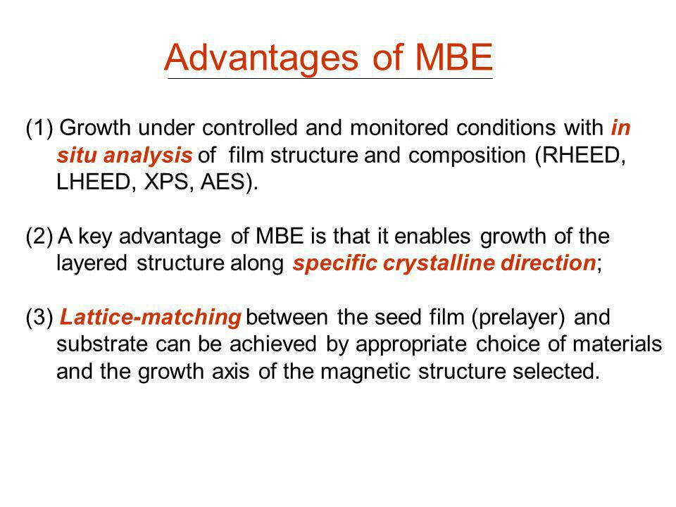 Advantages of MBE Growth under controlled and monitored conditions with in. situ analysis of film structure and composition (RHEED,