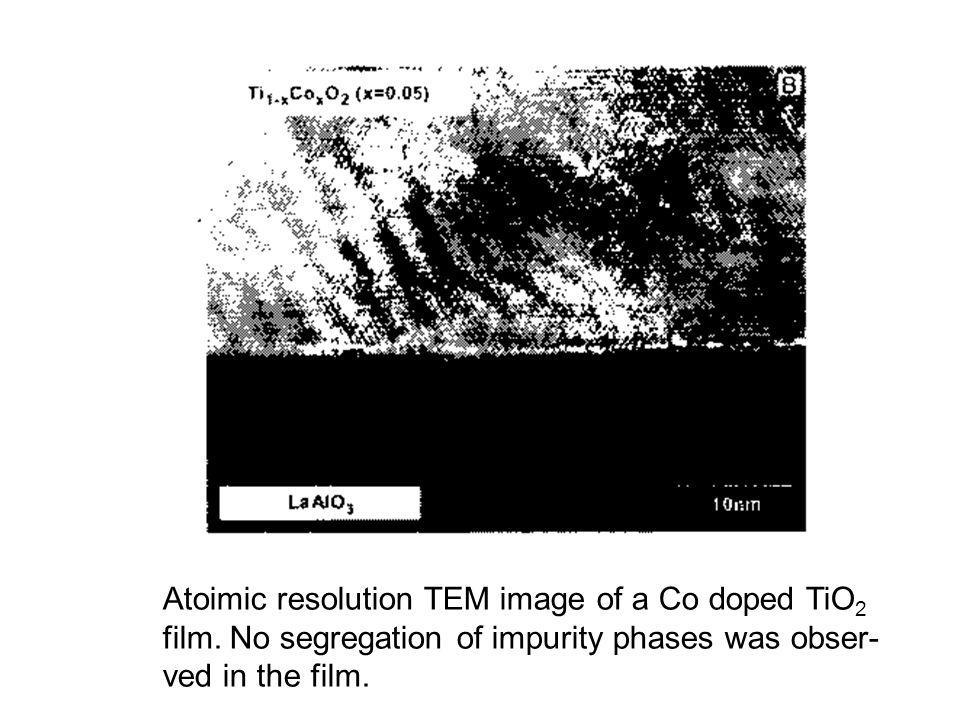 Atoimic resolution TEM image of a Co doped TiO2