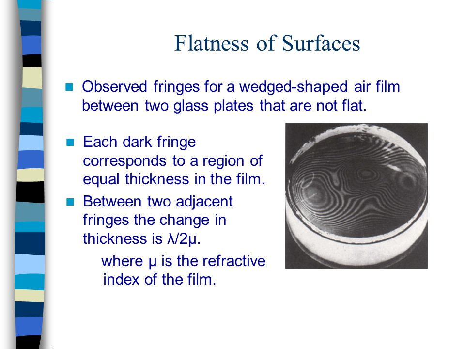 Flatness of Surfaces Observed fringes for a wedged-shaped air film between two glass plates that are not flat.