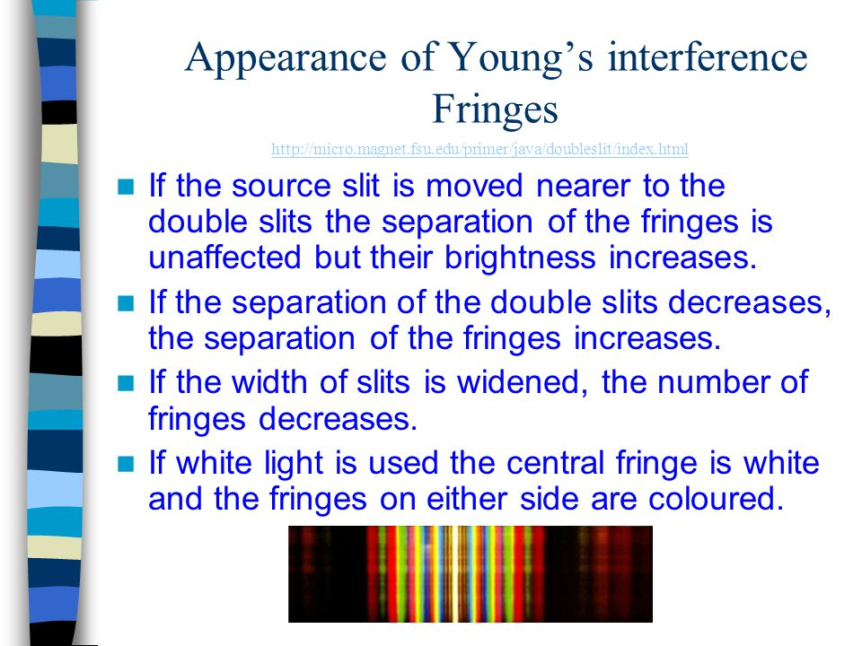 Appearance of Young's interference Fringes