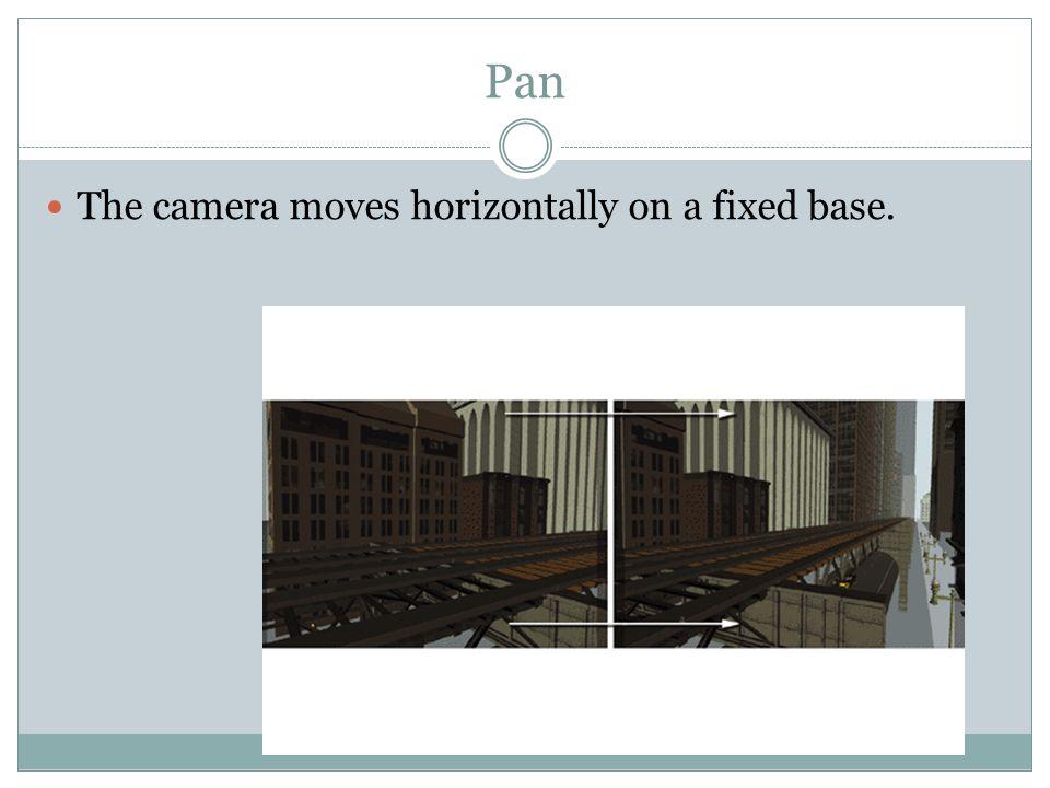 Pan The camera moves horizontally on a fixed base.