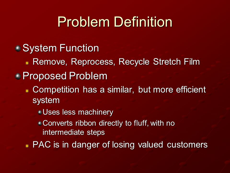 Problem Definition System Function Proposed Problem