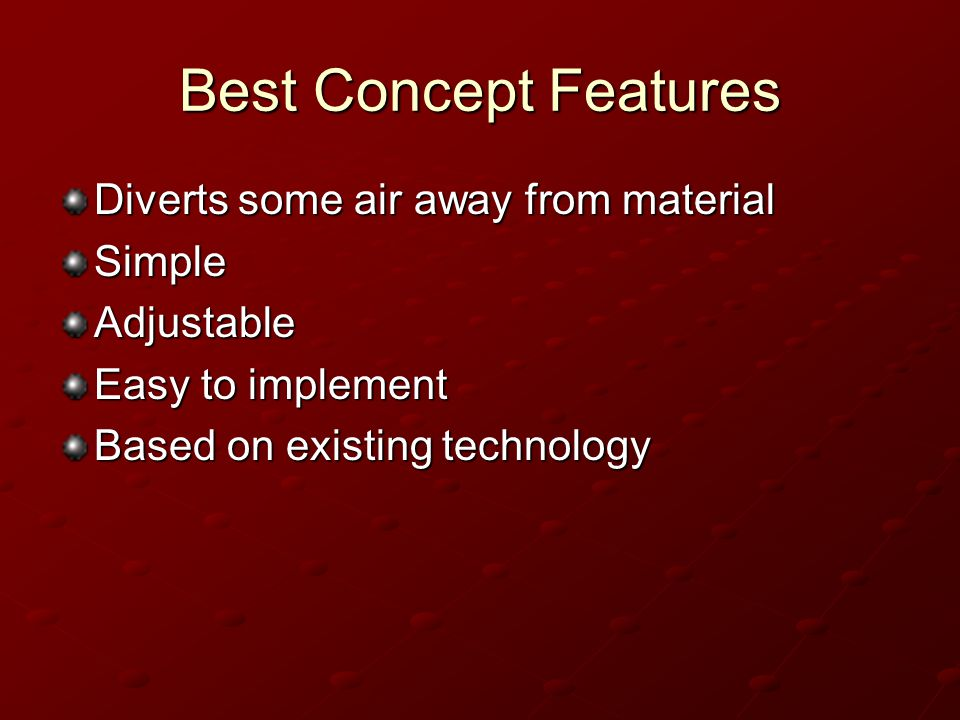 Best Concept Features Diverts some air away from material Simple