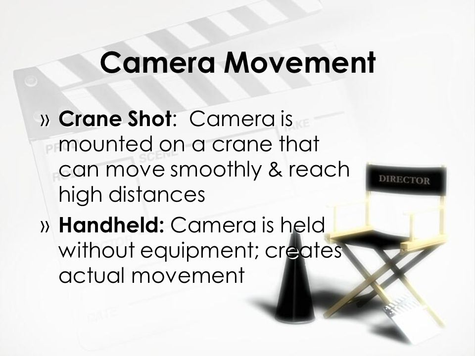 Camera Movement Crane Shot: Camera is mounted on a crane that can move smoothly & reach high distances.