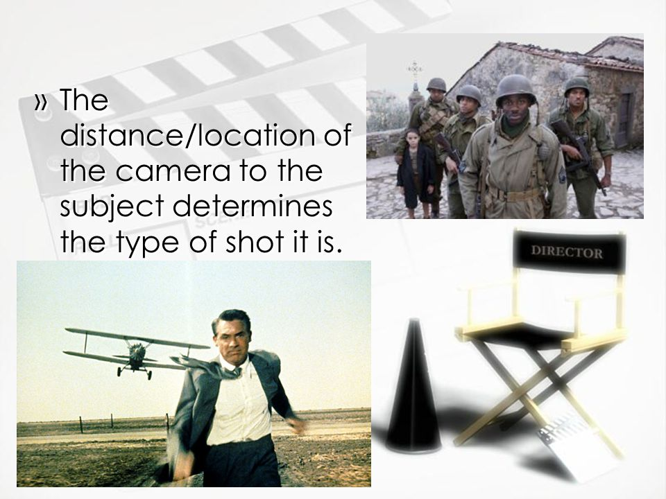 The distance/location of the camera to the subject determines the type of shot it is.