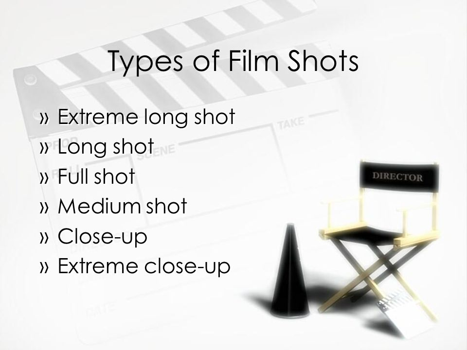 Types of Film Shots Extreme long shot Long shot Full shot Medium shot