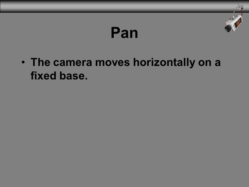 3/31/2017 Pan The camera moves horizontally on a fixed base.