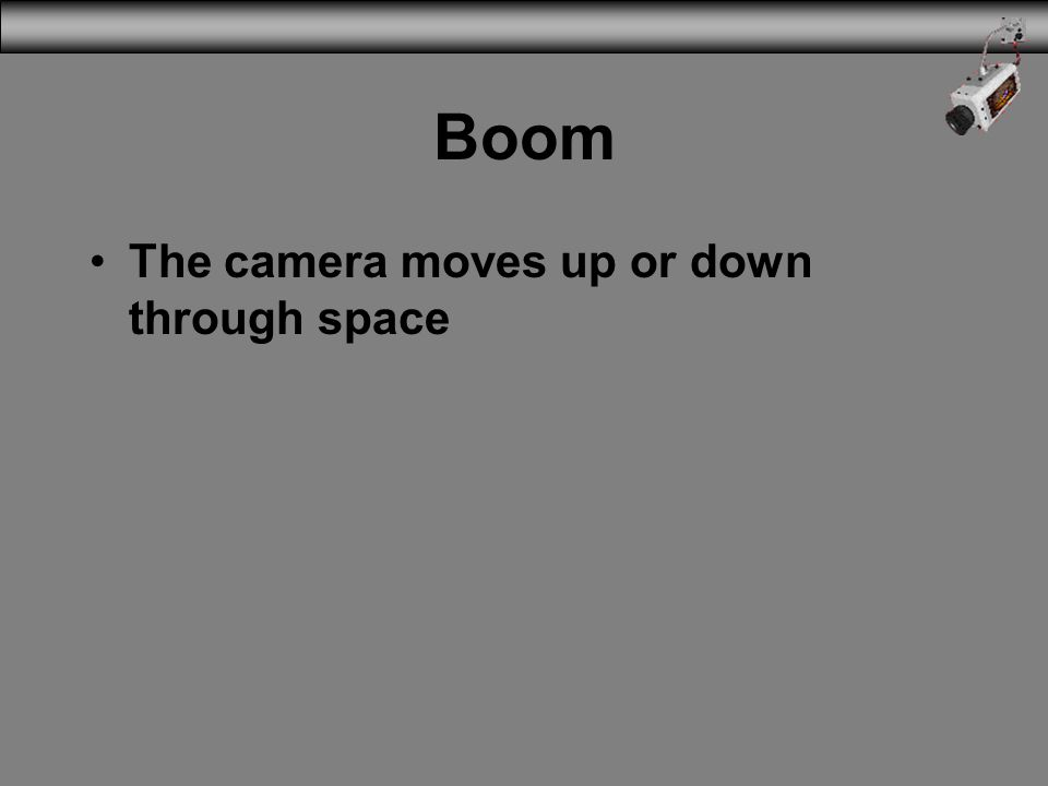 3/31/2017 Boom The camera moves up or down through space