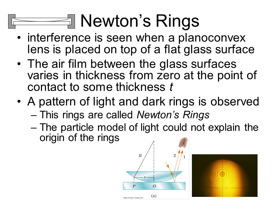 Newton's Rings interference is seen when a planoconvex lens is placed on top of a flat glass surface.