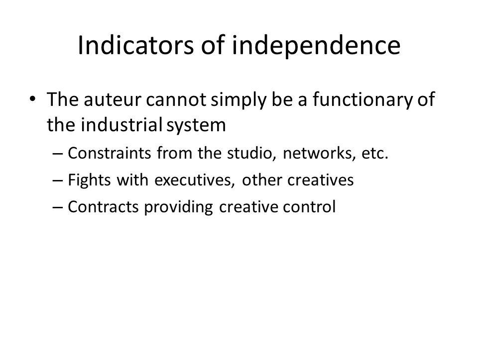 Indicators of independence